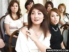 Asian old bag shows tights at orgy