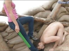 Dominated there an obstacle smutty by a clothed chick