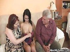 She is seduced hard by his old parents