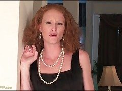 Bony redhead milf unclothes off her little ebony sundress