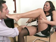 Brunette vamp Rio Lee with big boobs getting
