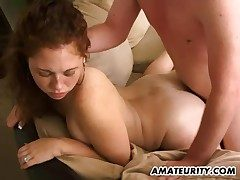 Hot fledgling gf sucks and fucks at home