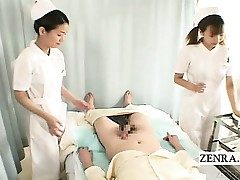 Subtitles CFNM two Chinese nurses handjob with money-shot