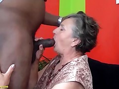 80 years old grandma first-ever time interracial pulverized
